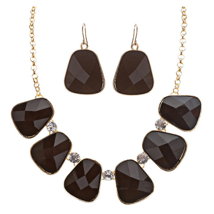 Striking Elegant Bold Design Crystal Statement Necklace Set JN171 Black