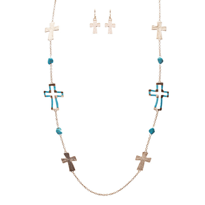 Cross Jewelry Simple Yet Fascinating Spiritual Charm Necklace Set JN223 TQ
