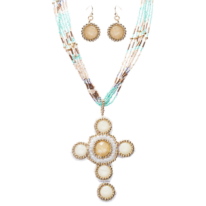 Cross Jewelry Traditional Design Beaded Necklace & Earrings Set JN245 Beige