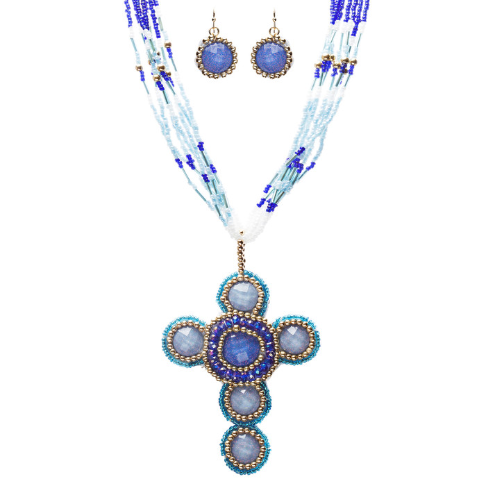 Cross Jewelry Traditional Design Beaded Necklace & Earrings Set JN245 Blue