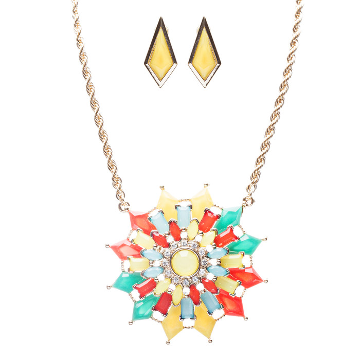 Modern Fashion Crystal Rhinestone Grand Floral Arrangement Necklace JN246 Multi