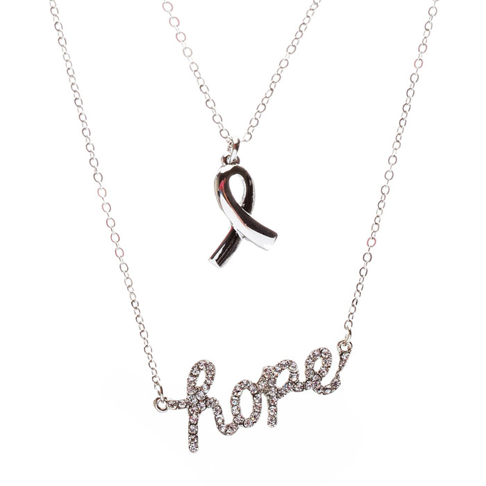 Pink Ribbon Jewelry Crystal Rhinestone Inspiring Hope Layered Necklace N70Silver
