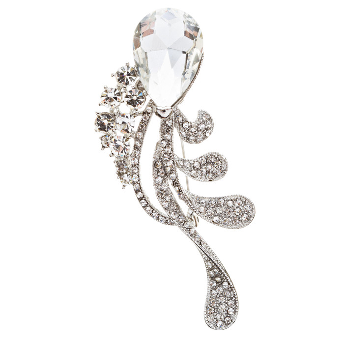 Bridal Wedding Jewelry Crystal Rhinestone Chic Tear Drop Brooch Pin BH75 Silver