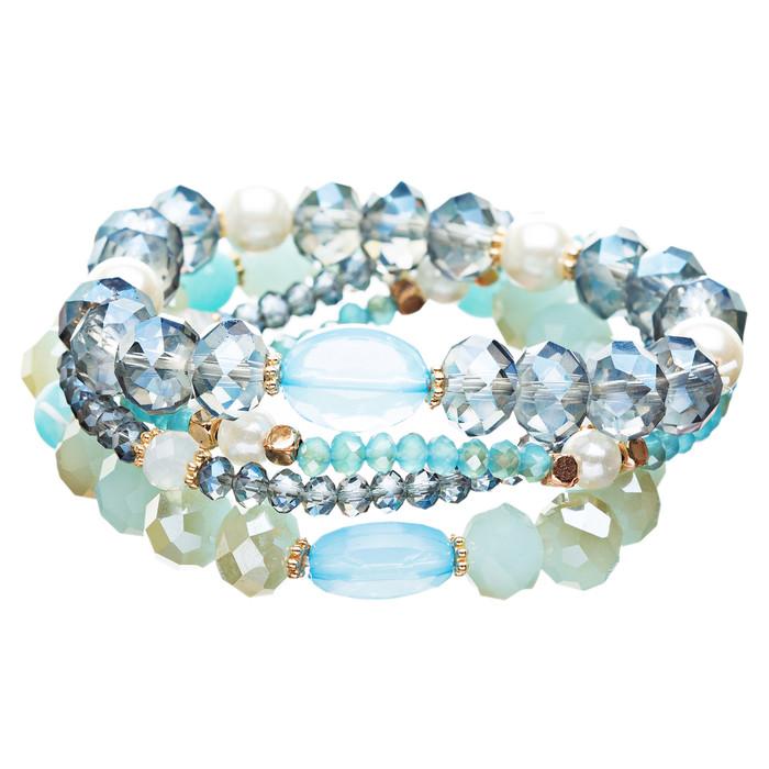 Modern Fashion Crystal Rhinestone Stylish Beaded Stretch Bracelet B420 Blue