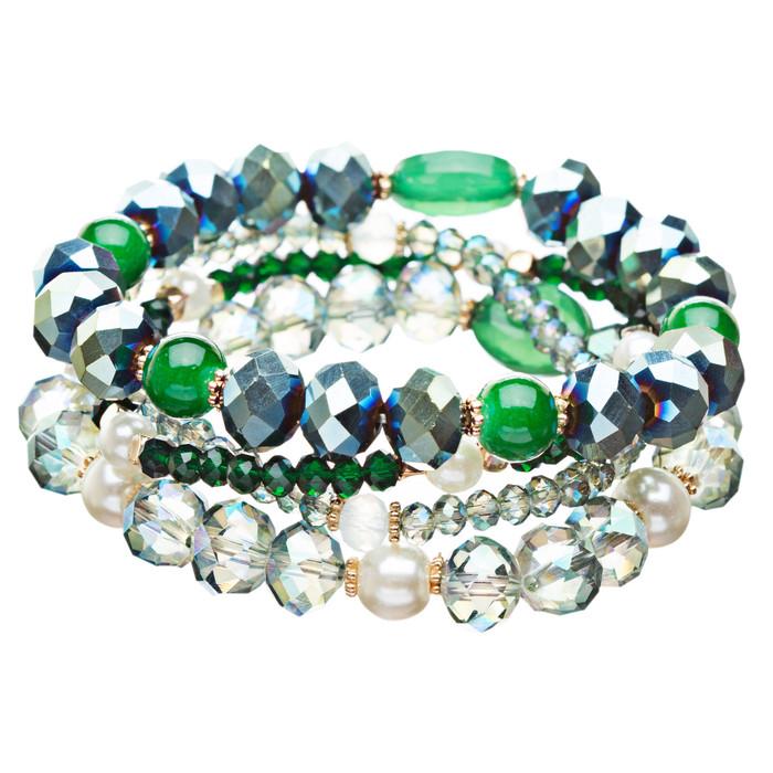 Modern Fashion Crystal Rhinestone Stylish Beaded Stretch Bracelet B420 Green