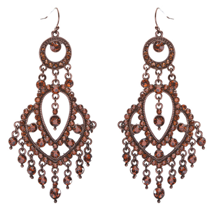 Crystal Pave Vintage Chandelier Luxury Earring Brown L