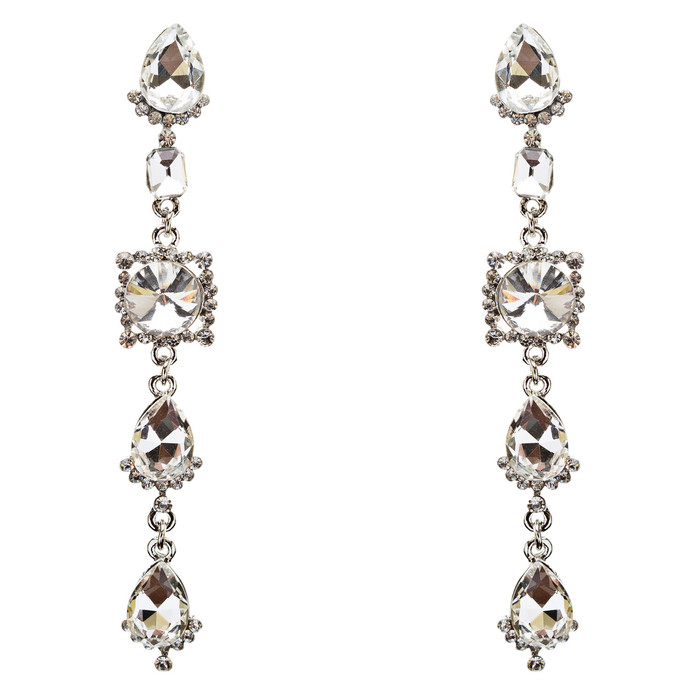 Trendy Design Crystal Rhinestone Dazzling Tear Drop Shape Earrings E740 Silver