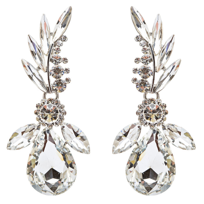 Bridal Wedding Jewelry Crystal Rhinestone Lavish Design Earrings E742 Silver
