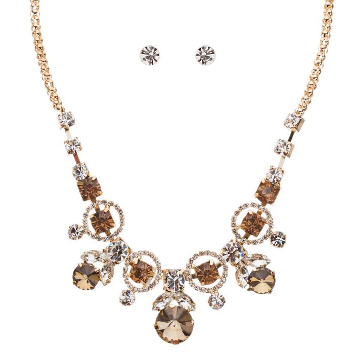 Glamorous Jewelry Set Crystal Rhinestone Elegant Setting Necklace J526 Brown