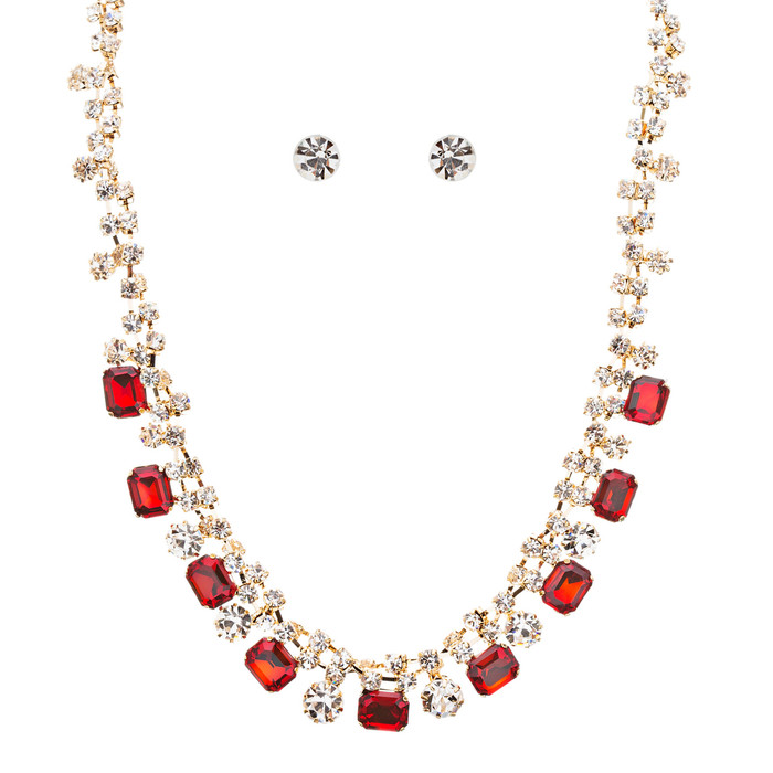Sparkle Crystal Rhinestone Jewelry Set Beautiful Pattern Necklace J527 Red