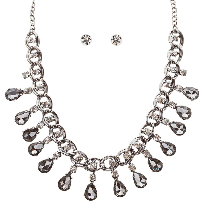 Beautiful Crystal Rhinestone Dazzling Dangling Teardrop Necklace Set J528 Gray