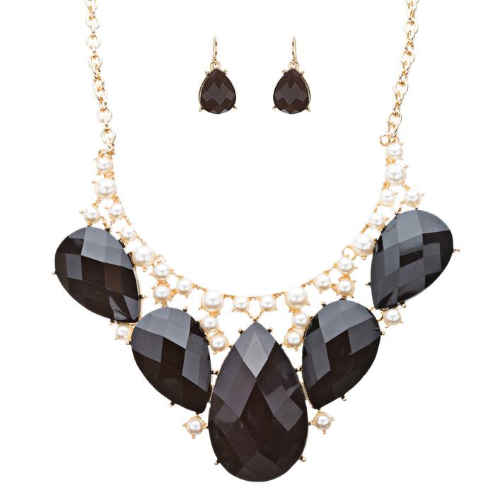 Modern Trendy Chic Bold Teardrop Design Statement Necklace Set  JN174 Black
