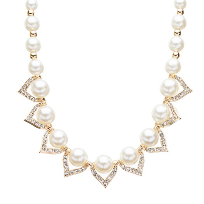 Bridal Wedding Jewelry Crystal Rhinestone Elegant Faux Pearl Necklace N42 Gold