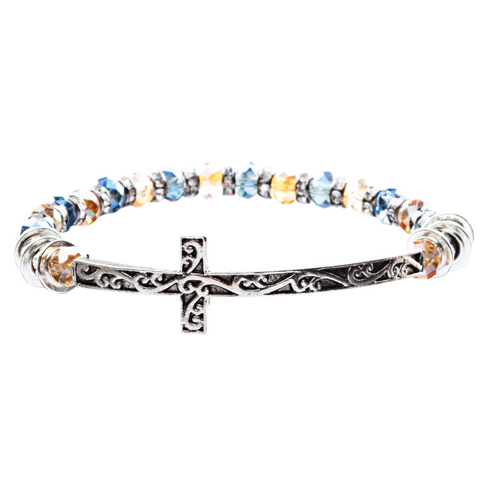 Lovely Crystal Rhinestone Cross Design Fashion Statement Bracelet B472 Multi