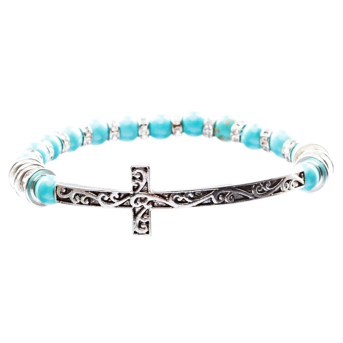 Lovely Crystal Rhinestone Cross Design Fashion Statement Bracelet B472 Turquoise