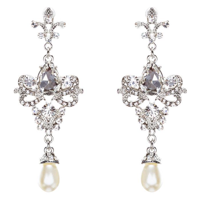 Bridal Wedding Jewelry Crystal Rhinestone Elegant Tear Drop Earrings E791 Silver