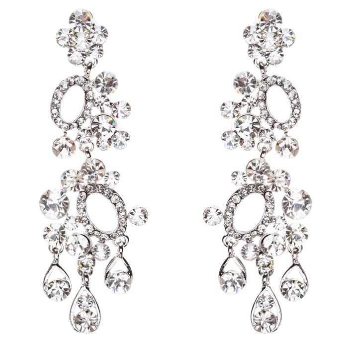 Bridal Wedding Jewelry Crystal Rhinestone Sparkling Dangle Earrings E792 Silver