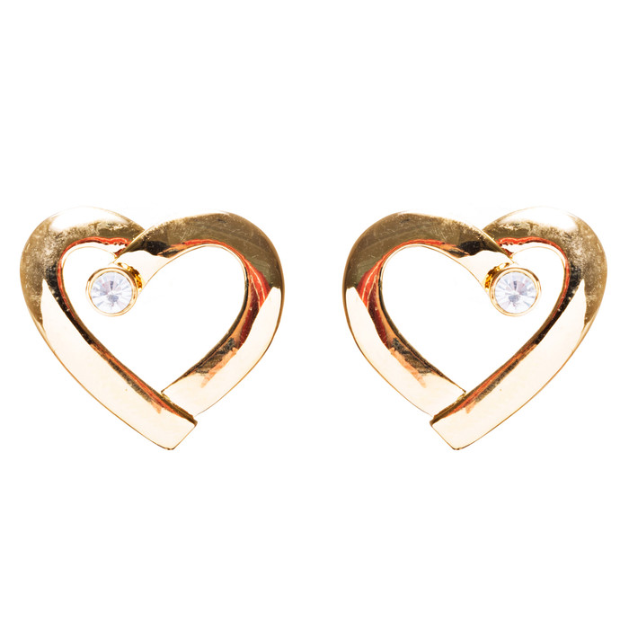 Valentines Jewelry Crystal Rhinestone Chic Open Heart Earrings E927 Gold
