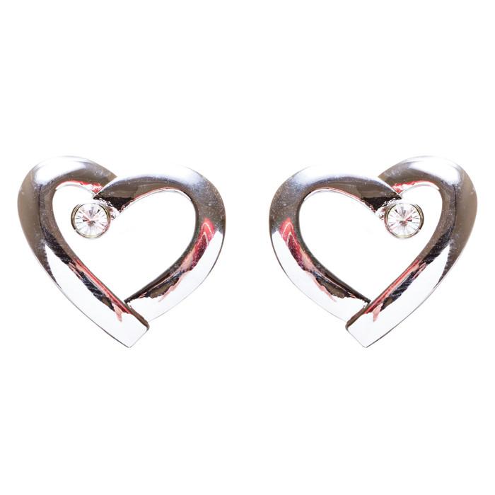 Valentines Jewelry Crystal Rhinestone Chic Open Heart Earrings E927 Silver