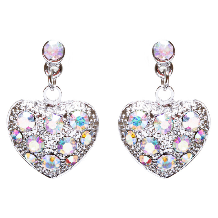 Valentines Jewelry Crystal Rhinestone Darling Heart Dangle Earrings E930 Silver