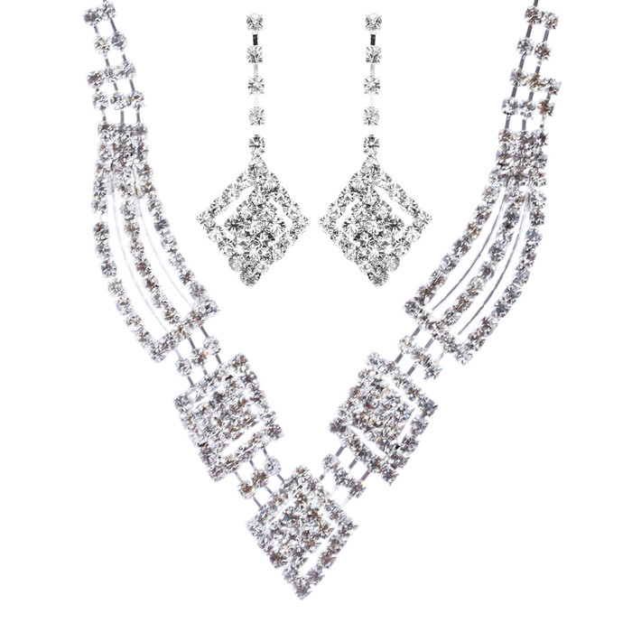 Bridal Wedding Jewelry Crystal Rhinestone Gorgeous Design Necklace J572 Silver