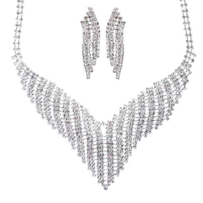 Bridal Wedding Jewelry Crystal Rhinestone Grand Bib Design Necklace J576 Silver