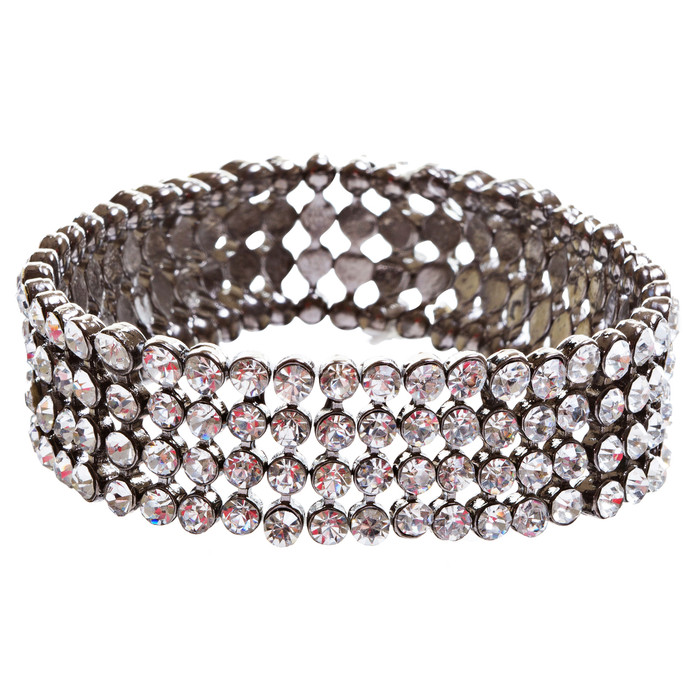 Bridal Wedding Jewelry Crystal Rhinestone Beautiful Wrap Around Bracelet B263 BK