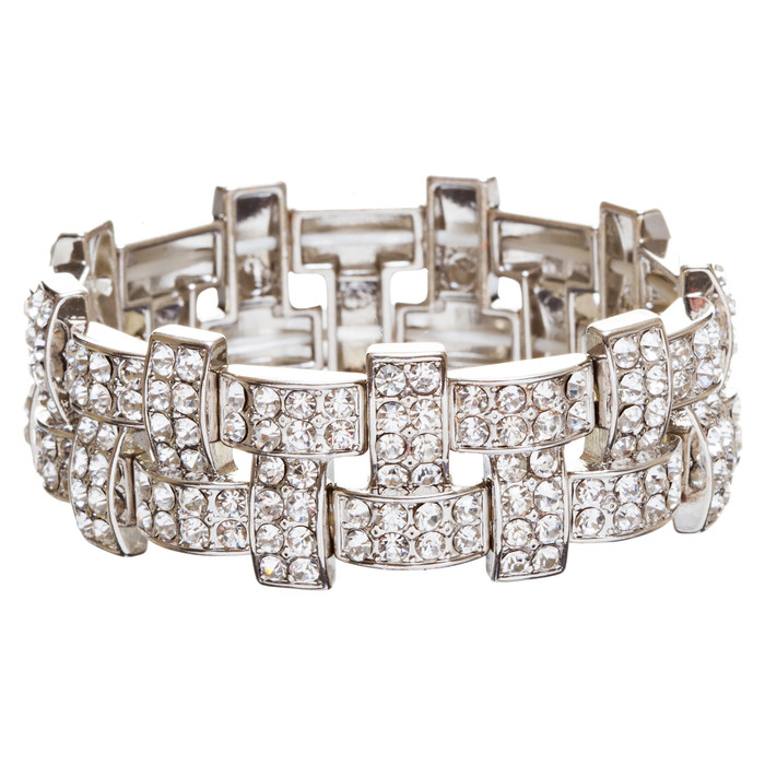 Bridal Wedding Jewelry Crystal Rhinestone Stunning Woven Stretch Bracelet B278SV