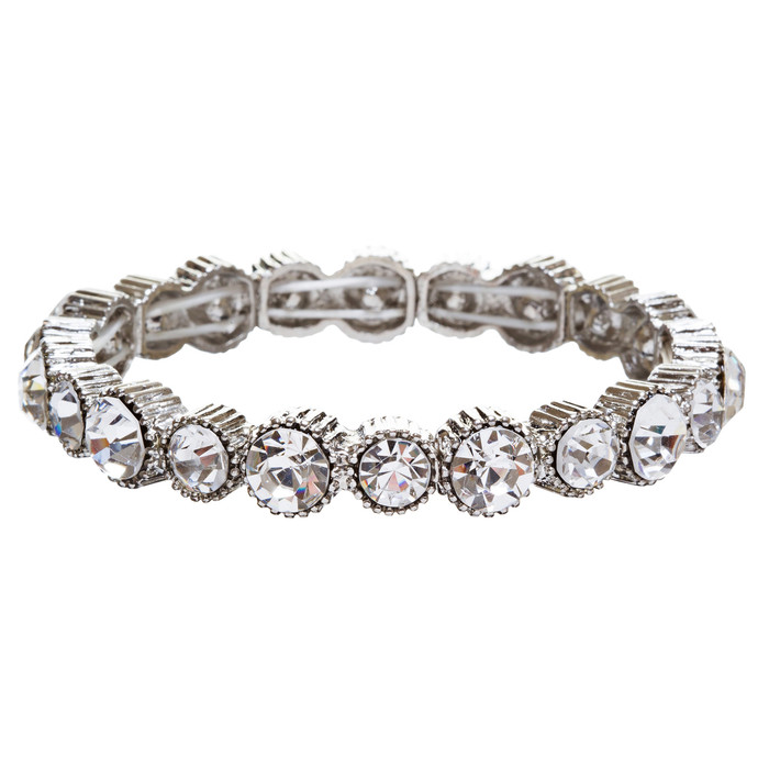 Bridal Wedding Jewelry Crystal Rhinestone Simple Yet Elegant Bracelet B308 SV