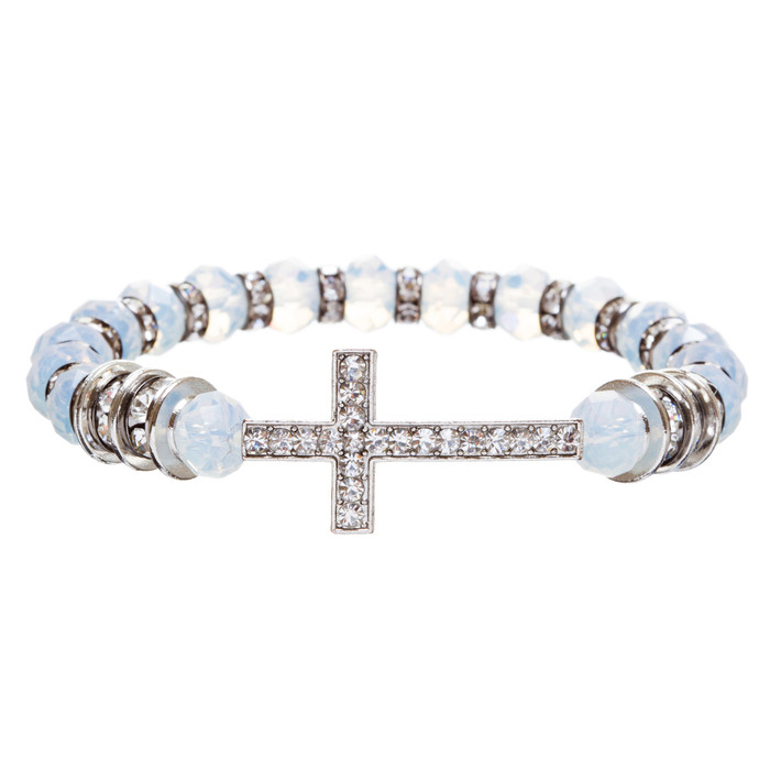 Cross Jewelry Crystal Rhinestone Trendy Design Cross Stretch Bracelet B362 White