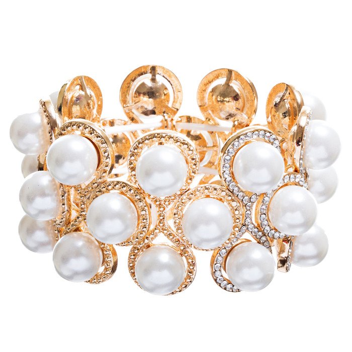 Bridal Wedding Jewelry Crystal Rhinestone Impressive Faux Pearl Bracelet B499 GD