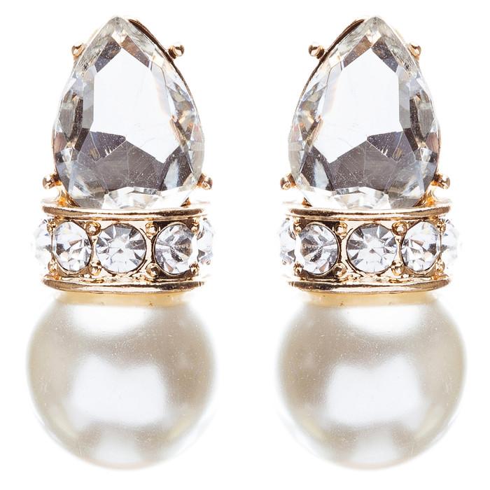 Bridal Wedding Jewelry Crystal Rhinestone Elegant Tear Drop Earrings E863 Gold