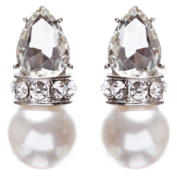 Bridal Wedding Jewelry Crystal Rhinestone Elegant Tear Drop Earrings E863 Silver