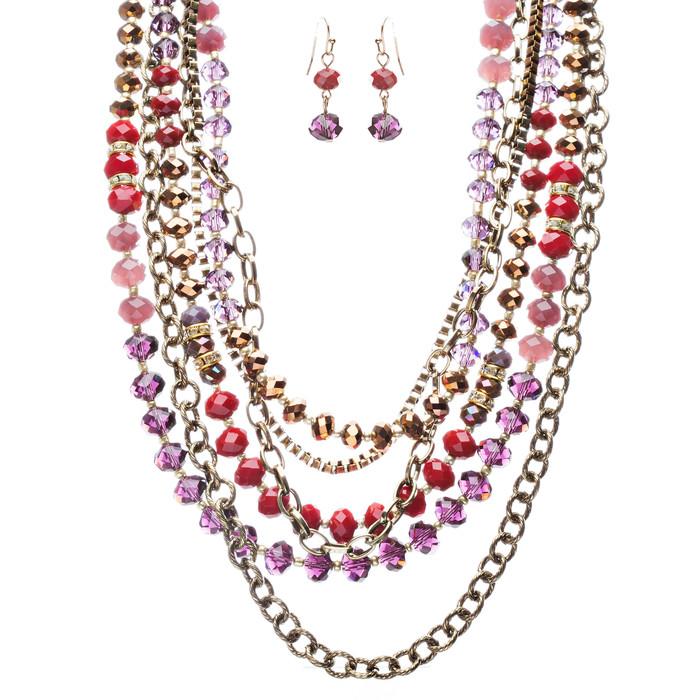 Exotic Multi Layered Colorful Bead Drape Design Fashion Statement Set JN267 Red