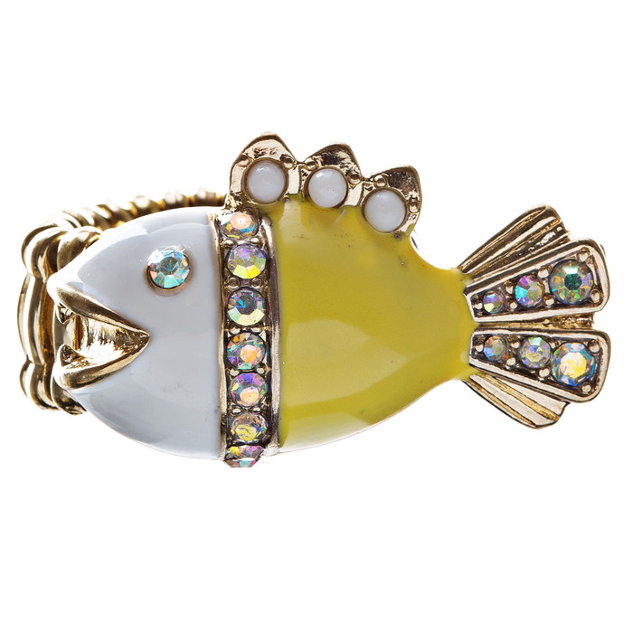 Ocean Theme Crystal Rhinestone Fancy Fishlike Design Stretch Ring R90 Yellow