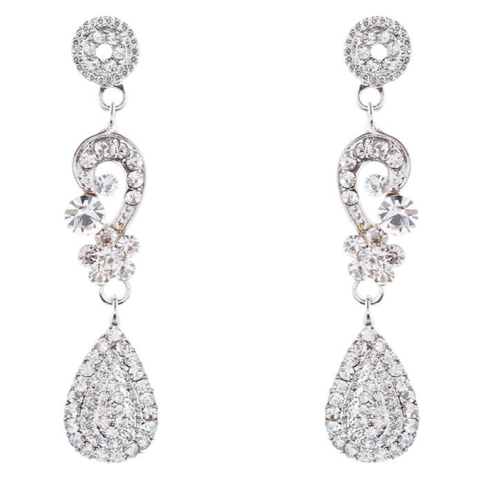 Bridal Wedding Jewelry Crystal Rhinestone Classic Teardrop Earrings E981 Silver
