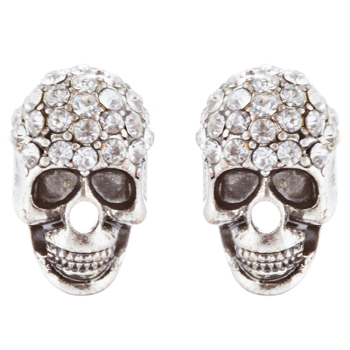 Halloween Costume Jewelry Crystal Rhinestone Skull Head Fashion Earrings E982 SV