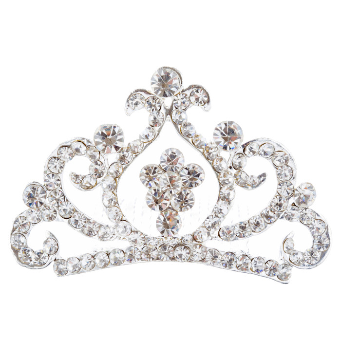 Bridal Wedding Jewelry Crystal Rhinestone Adorable Hair Comb Tiara H182 Silver
