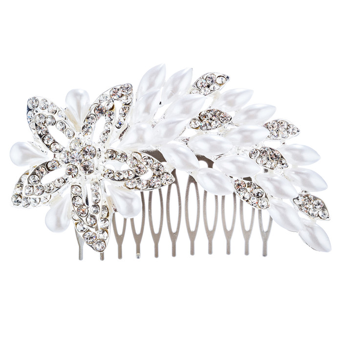 Bridal Wedding Jewelry Crystal Pearl Dazzle Floral Decorative Hair Comb H183 SV