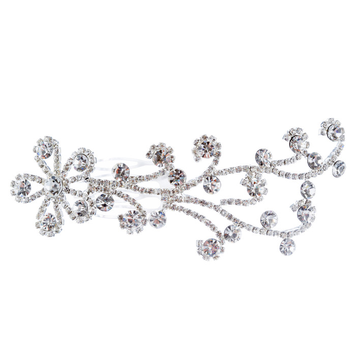 Bridal Wedding Jewelry Rhinestone Simple Floral Decorative Hair Comb H184 Silver