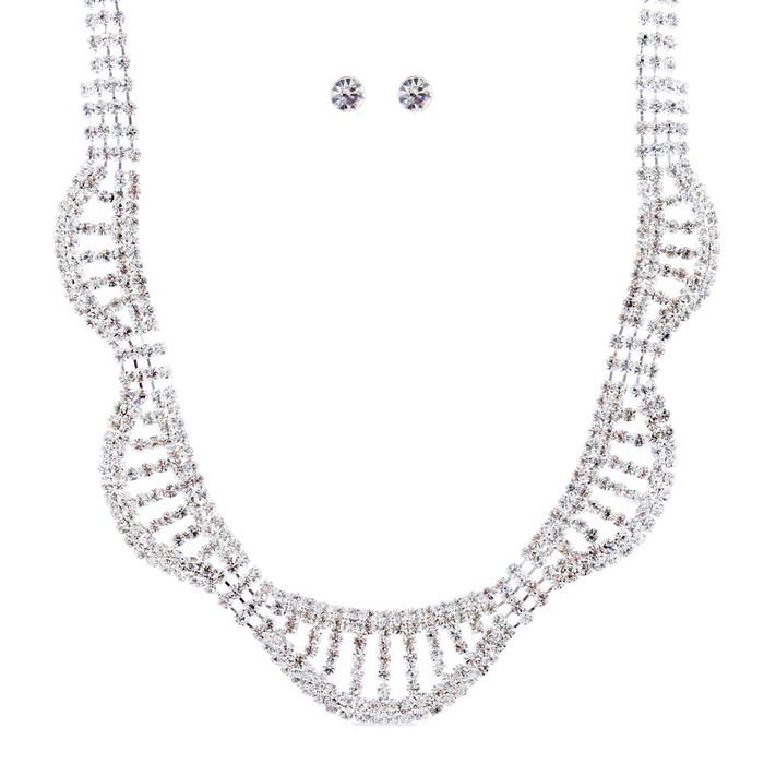 Bridal Wedding Jewelry Crystal Rhinestone Bib Design Necklace Set J681 Silver
