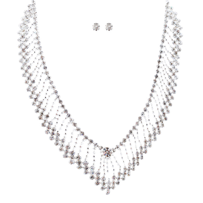 Bridal Wedding Jewelry Crystal Rhinestone Modern V Drop Necklace Set J682 SV