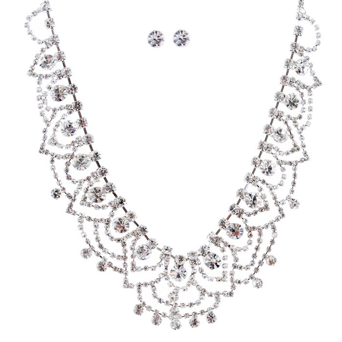 Bridal Wedding Jewelry Crystal Rhinestone Elegant Dazzle Necklace Set J683 SV