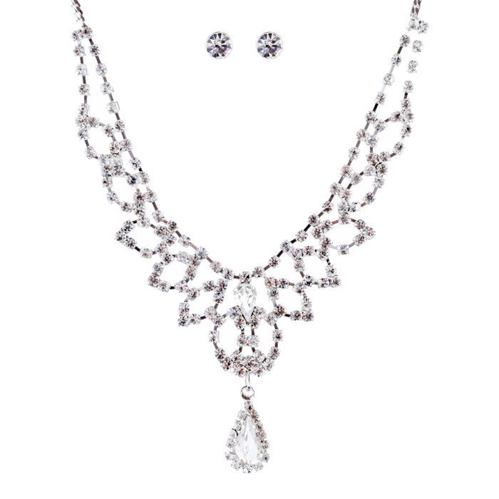 Bridal Wedding Jewelry Crystal Rhinestone Stylish Teardrop Necklace Set J688 SV