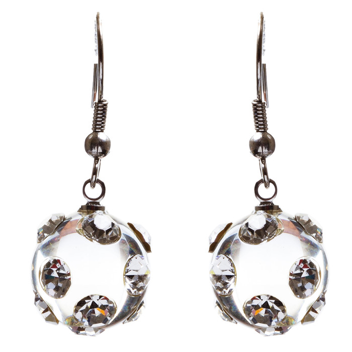 Bridal Wedding Jewelry Crystal Rhinestone Adorable Crystal Ball Earrings E79 SLV