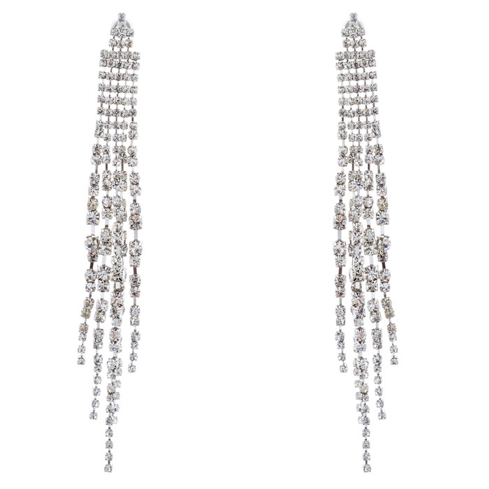 Bridal Wedding Jewelry Crystal Rhinestone Linear Drop Dangle Earrings E984 SV