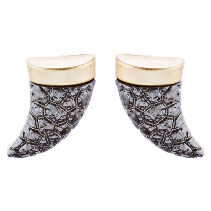 Fun Cute Adorable Horn Design Fashion Stud Style Earrings E987 Brown