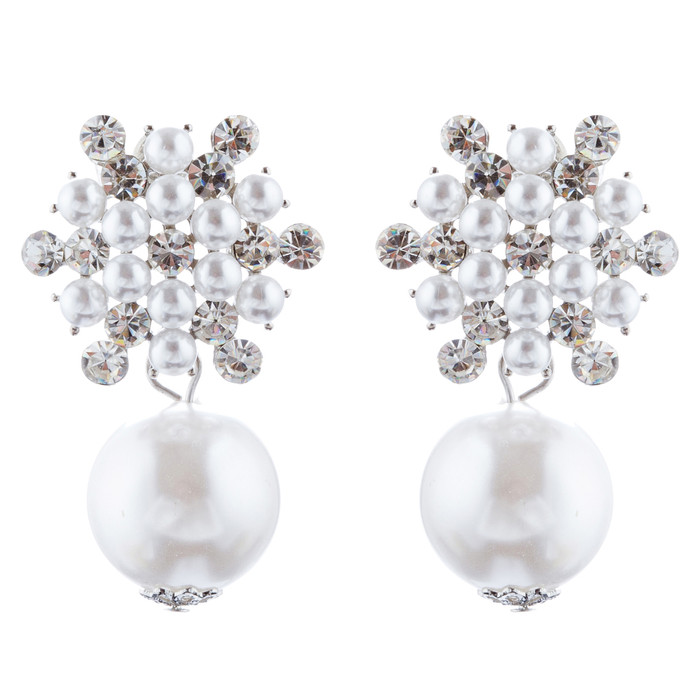 Bridal Wedding Jewelry Crystal Rhinestone Pearl Floral Dangle Earrings E987 SV