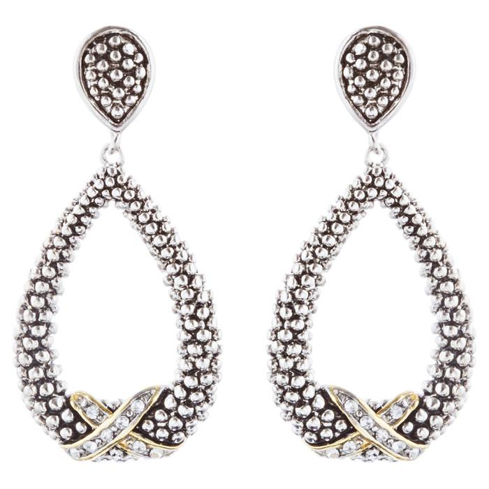 Sophisticated Classic Gorgeous Two-Tone Crystal Rhinestone Earrings E995 GDSV