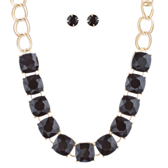 Classic Modern Linear Style Statement Necklace Set JN274 Gold Black